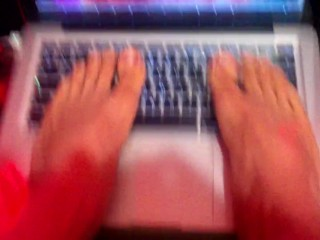 Foot Fetish - Laptop Trampling – Sexy Twink's Barefeet Rubbing On Keyboard And Screen - Beautiful