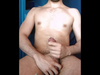 Twink Cums Wits Massaging Enthrone Frenulum